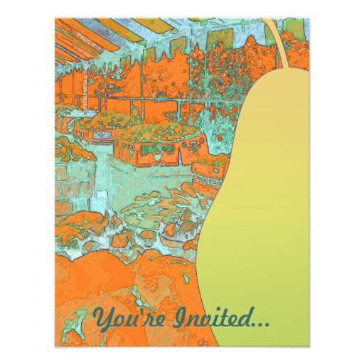Pear and Fruit Stand Invitation