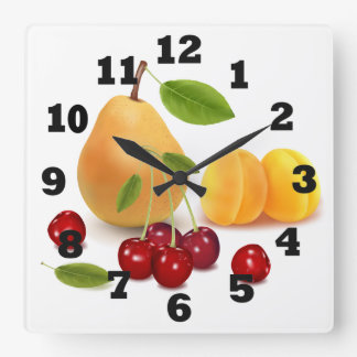 Pear Apricot and Cherries Square Wall Clock