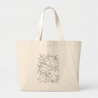 Pear Branch Line Art Design Large Tote Bag