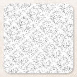 Pear Branch Line Art Design Square Paper Coaster