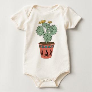 Pear Cactus Bike In Pot With Kokopelli On Bike Pat Baby Bodysuit
