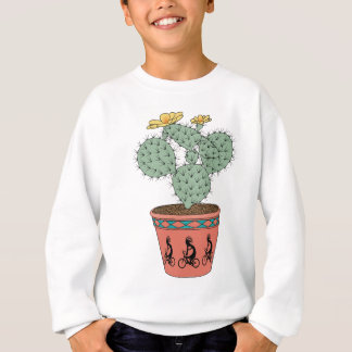 Pear Cactus Bike In Pot With Kokopelli On Bike Pat Sweatshirt