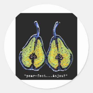 pear-fect-dark round stickers