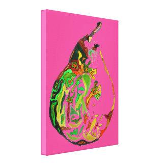 Pear fruit pop art watercolour art illustration canvas print
