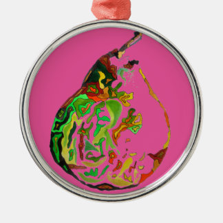 Pear fruit pop art watercolour illustration metal ornament