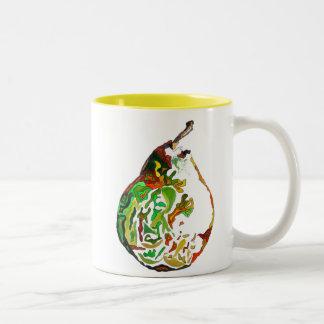 Pear fruit pop art watercolour illustration Two-Tone coffee mug