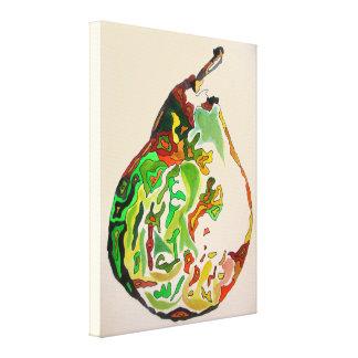 Pear fruit watercolour art illustration canvas print
