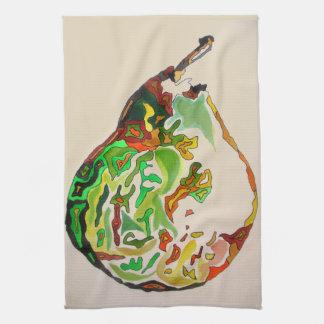 Pear fruit watercolour illustration kitchen towel