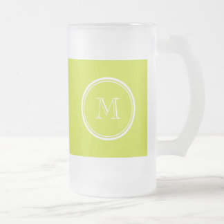 Pear High End Colored Monogram Initial 16 Oz Frosted Glass Beer Mug