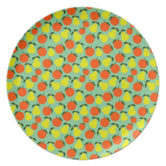 Pear & Orange melamine plate