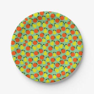 Pear & Orange paper plate