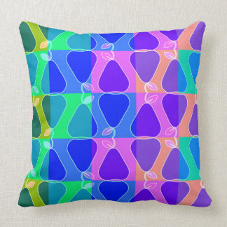 Pear pattern in blue throw pillow