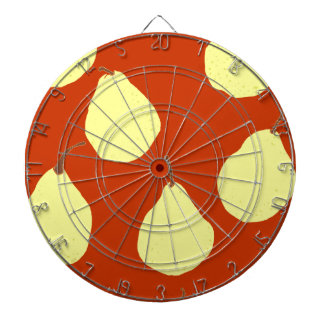 pear pattern red and cream yellow dartboard with darts