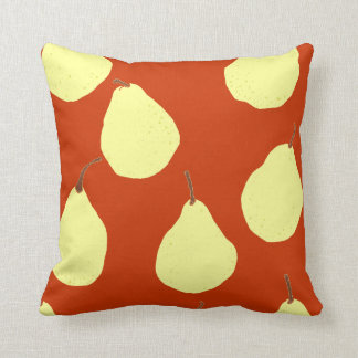 pear pattern red and cream yellow throw pillow