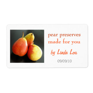 Pear Preserves or jam label Shipping Label