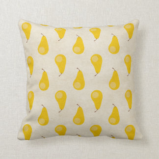 Pear Print Yellow Fruit Pears Classic Preppy Throw Pillow