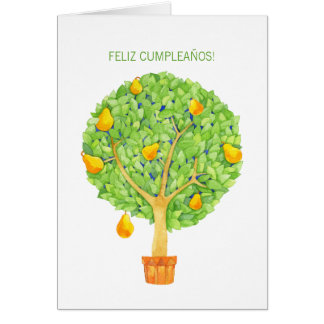 Pear Tree Feliz Cumpleaños Spanish Birthday Card