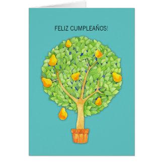 Pear Tree teal Feliz Cumpleaños Spanish Birthday Greeting Card