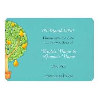Pear Tree teal Save the Date Card