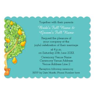 "Pear Tree teal Scalloped 5x7"" Wedding Invitation"