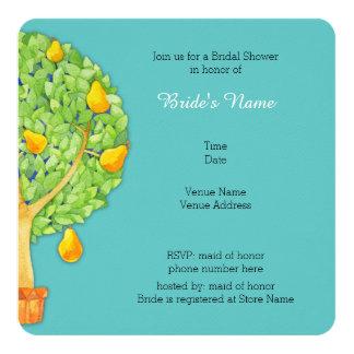 Pear Tree teal Square Bridal Shower Invitation