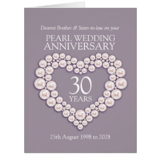 Pearl 30th anniversary brother sister-in-law card
