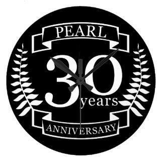 Pearl 30th wedding anniversary 30 years large clock