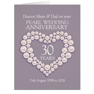 Pearl 30th wedding anniversary mum and dad card