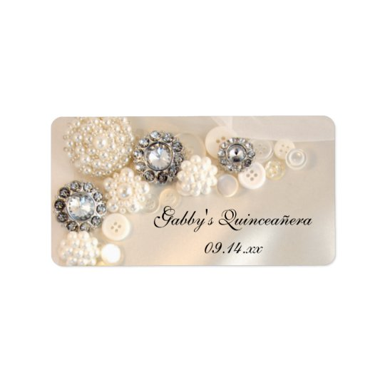 Pearl and Diamond Buttons Quinceañera Favour Tags