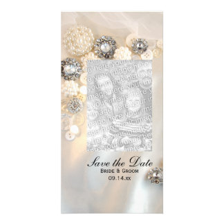 Pearl and Diamond Buttons Wedding Save the Date Photo Card