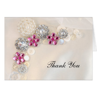 Pearl and Pink Diamond Button Bridesmaid Thank You Card