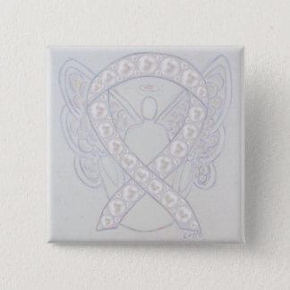 Pearl Angel Awareness Ribbon Custom Button Pin