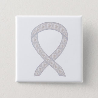 Pearl Awareness Ribbon Custom Pin Button