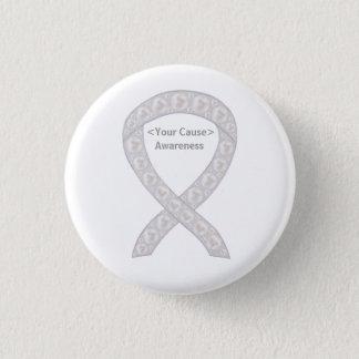 Pearl Awareness Ribbon Custom PIn Buttons