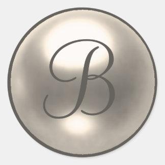 Pearl B monogram wedding seal