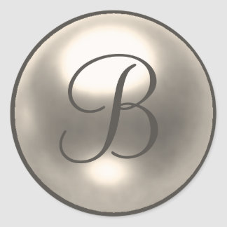 Pearl B monogram wedding seal Round Sticker