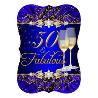 Pearl & Blue Gold Swirl 50 & Fabulous Invite