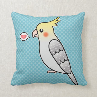 Pearl Cartoon Cockatiel Parrot Bird Love Throw Pillow