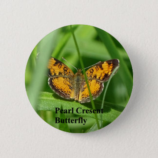 Pearl Crescent Butterfly 2 Inch Round Button