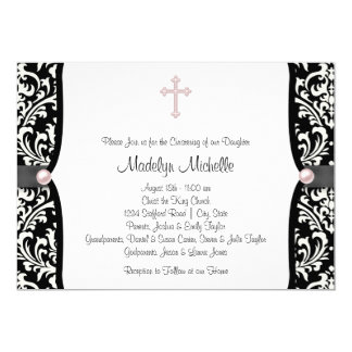 "Pearl Cross Pink Black Damask Christening 5"" X 7"" Invitation Card"