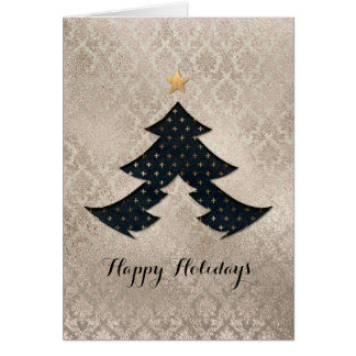 Pearl Damask Modern Christmas Tree Card