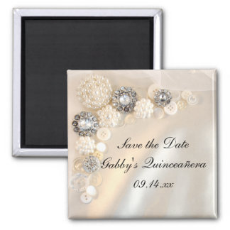 Pearl Diamond Buttons Quinceañera Save the Date Magnet