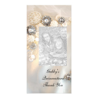 Pearl Diamond Buttons Quineañera Thank You Personalized Photo Card