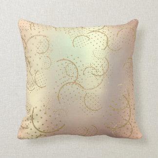 Pearl Gold Foxier Rose Blush Metallic Circles Glam Throw Pillow