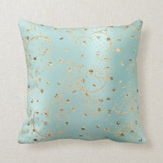 Pearl Gold Foxier Rose Blush Metallic Dots Lines Throw Pillow