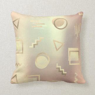 Pearl Gold Foxier Rose Blush Metallic Geometry Throw Pillow