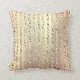 Pearl Gold Foxier Rose Blush Metallic Stripe Lines Throw Pillow
