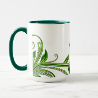 Pearl & Green Leaves Mug