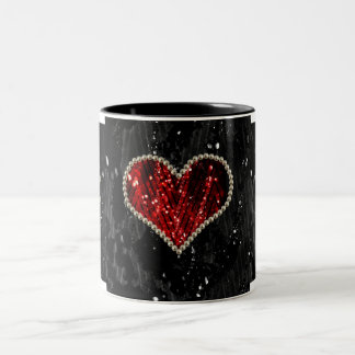 Pearl Heart Two-Tone Coffee Mug