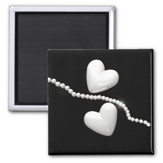 Pearl Hearts on Black Magnet